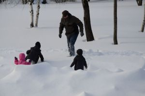 Playing in the snow at Lazy Pond